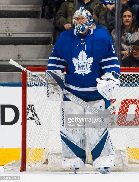 Frederik Andersen of the Toronto Maple Leafs stands in net against the Columbus Blue Jackets during the first period at the Air Canada Centre on...