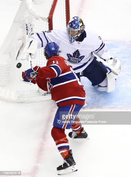 Frederik Andersen of the Toronto Maple Leafs stops a shot by Brendan Gallagher of the Montreal Canadiens in the third period during an exhibition...