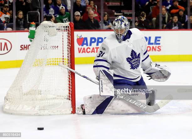 Frederik Andersen of the Toronto Maple Leafs stops a shot in the second period against the Philadelphia Flyers on December 12 2017 at Wells Fargo...