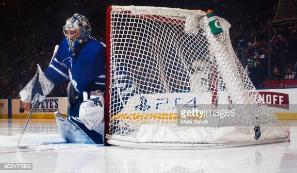 Frederik Andersen of the Toronto Maple Leafs takes the net against the Columbus Blue Jackets during the second period at the Air Canada Centre on...