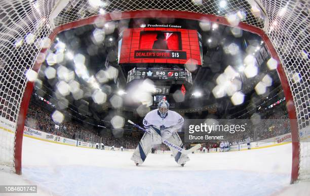 Frederik Andersen of the Toronto Maple Leafs tends net against the New Jersey Devils at the Prudential Center on December 18 2018 in Newark New...