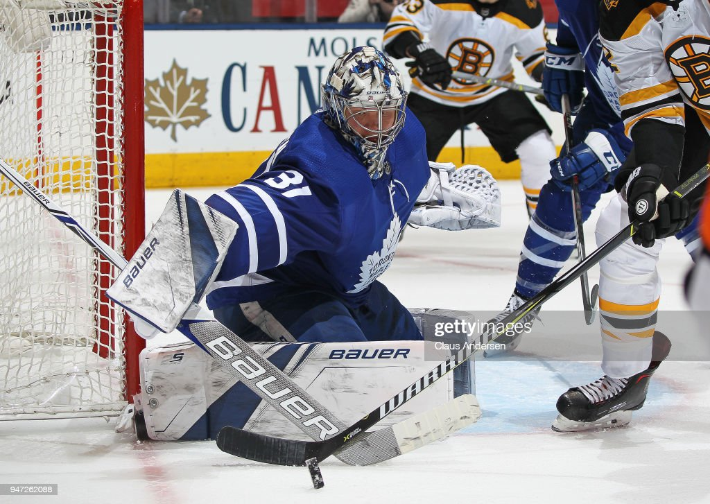 Frederik Andersen #31 of the Toronto Maple Leafs turns a shot away against the Boston Bruins in Game Three of the Eastern Conference First Round during the 2018 Stanley Cup Play-offs at the Air Canada Centre on April 16, 2018 in Toronto, Ontario, Canada. The Maple Leafs defeated the Bruins 4-2.