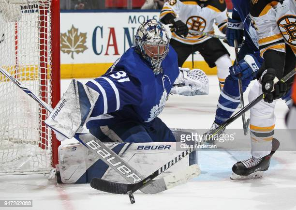 Frederik Andersen of the Toronto Maple Leafs turns a shot away against the Boston Bruins in Game Three of the Eastern Conference First Round during...