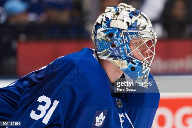 Frederik Andersen of the Toronto Maple Leafs waits for puck drop against the Tampa Bay Lightning during the first period at the Air Canada Centre on...