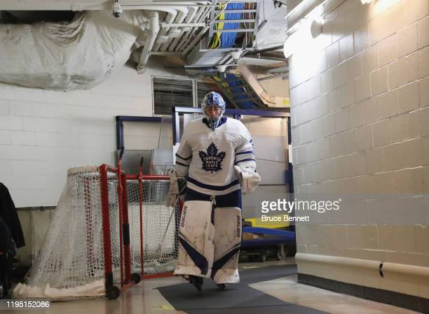 Frederik Andersen of the Toronto Maple Leafs walks out for the third period against the New York Rangers at Madison Square Garden on December 20 2019...