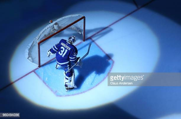 Frederik Andersen of the Toronto Maple Leafs warms up prior to playing against the Boston Bruins in Game Six of the Eastern Conference First Round in...