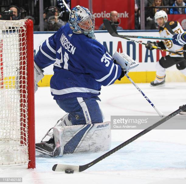 Frederik Andersen of the Toronto Maple Leafs watches a puck cleared away against the Boston Bruins in Game Three of the Eastern Conference First...