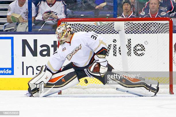 Frederik Anderson of the Anaheim Ducks is unable to stop the shot from Blake Comeau of the Columbus Blue Jackets during the first period on October...