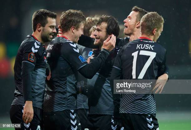 Frederik Borsting and Filip Lesniak of AaB Aalborg celebrate after scoring their first goal during the Danish Alka Superliga match between Silkeborg...