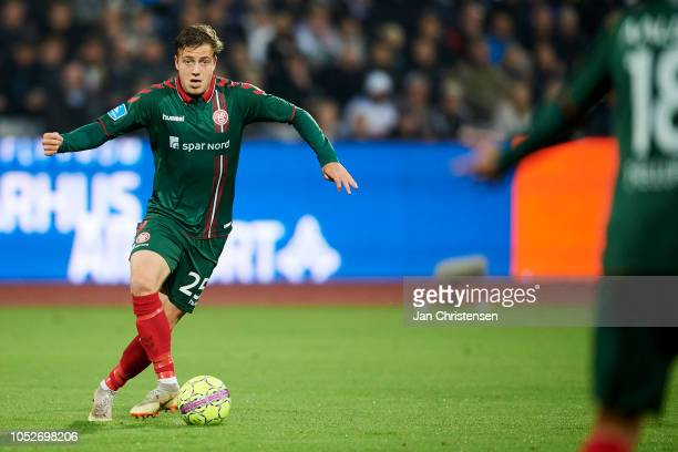Frederik Borsting of AaB Aalborg controls the ball during the Danish Superliga match between AGF Arhus and AaB Aalborg at Ceres Park on October 21...