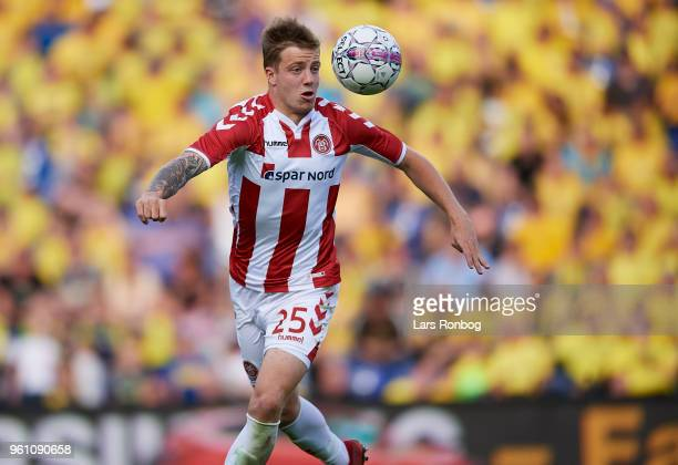 Frederik Borsting of AaB Aalborg in action during the Danish Alka Superliga match between Brondby IF and AaB Aalborg at Brondby Stadion on May 21...