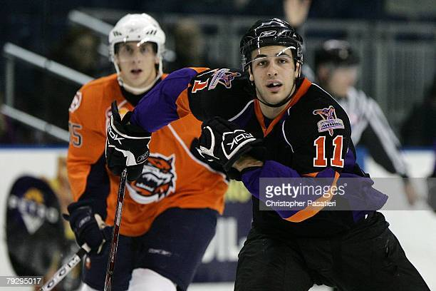 Frederik Cabana of the Philadelphia Phantoms skates during the second period against the Bridgeport Sound Tigers on January 23, 2008 at the Arena at...