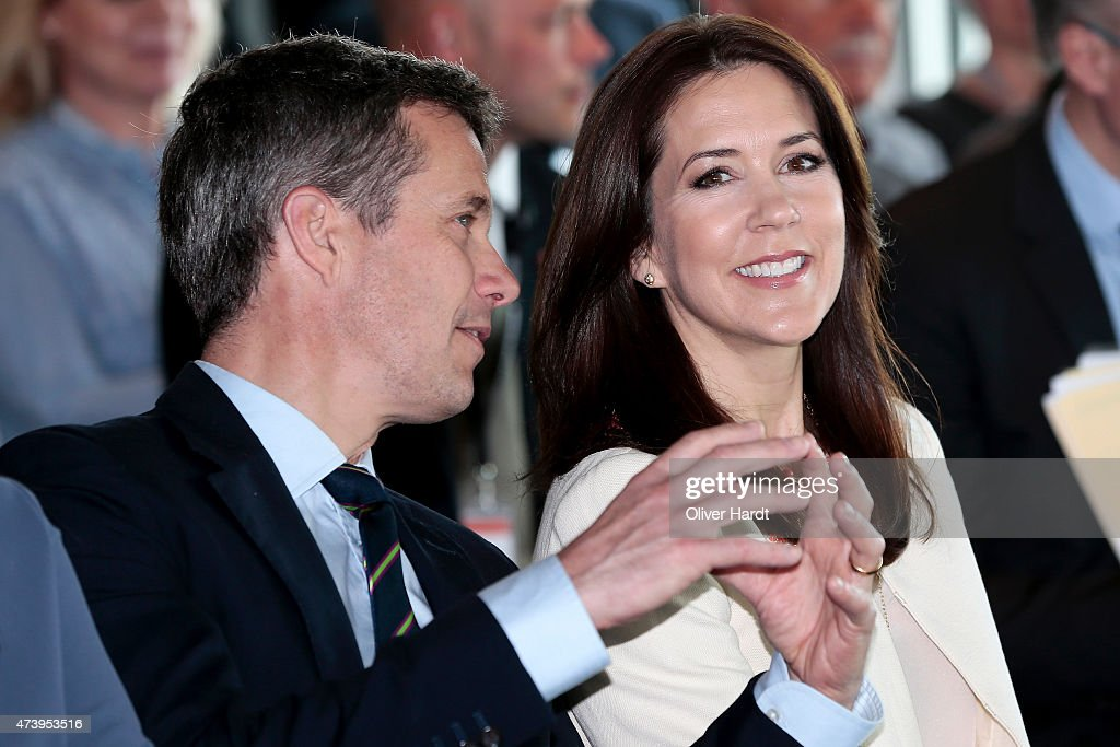 Frederik, Crown Prince of Denmark and Crown Princess Mary Of Denmark visit the Silent Fusion Kitschen at the Scandic Emporio Hamburg on the 23 th Floor on May 19, 2015 in Hamburg, Germany.
