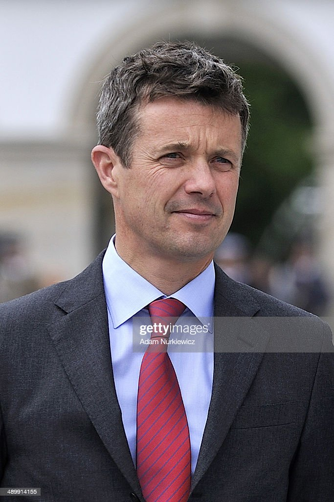 Frederik Crown Prince of Denmark visits the Tomb of the Unknown Soldier as part of his visit to Poland on May 12, 2014 in Warsaw, Poland.