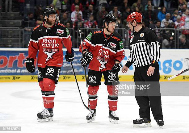 Frederik Eriksson and Patrick Hager of the Koelner Haien during the DEL playoff match between Koelner Haie and the Eisbaeren Berlin on March 26, 2016...