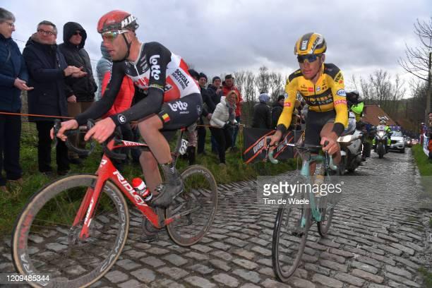 Frederik Frison of Belgium and Team Lotto Soudal / Mike Teunissen of The Netherlands and Team Jumbo - Visma /Molenberg / Cobblestones / Fans / Public...
