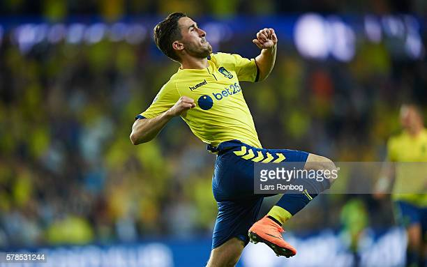 Frederik Holst of Brondby IF celebrates after the UEFA Europa League qualifier match between Brondby IF and Hibernian FC at Brondby Stadion on July...