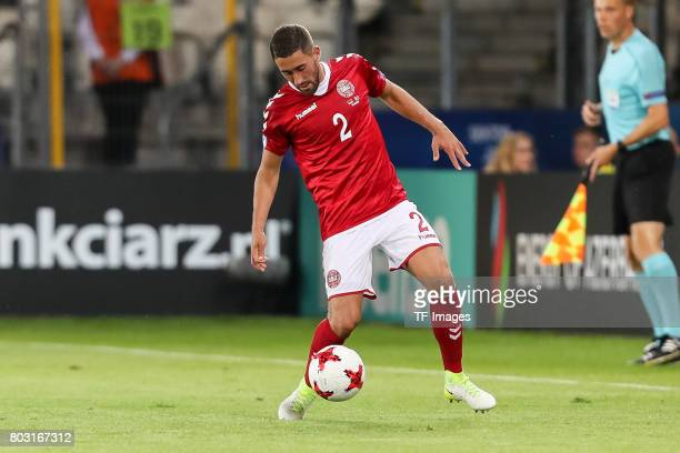 Frederik Holst of Denmark in action during the UEFA European Under-21 Championship Group C match between Germany and Denmark at Krakow Stadium on...