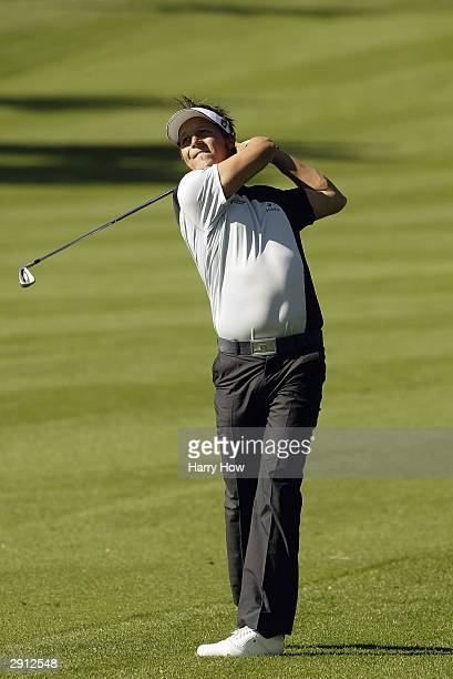 Frederik Jacobson of Sweden hits a shot on the 18th hole during the first round of the Bob Hope Chrysler Classic at Bermuda Dunes Country Club on...