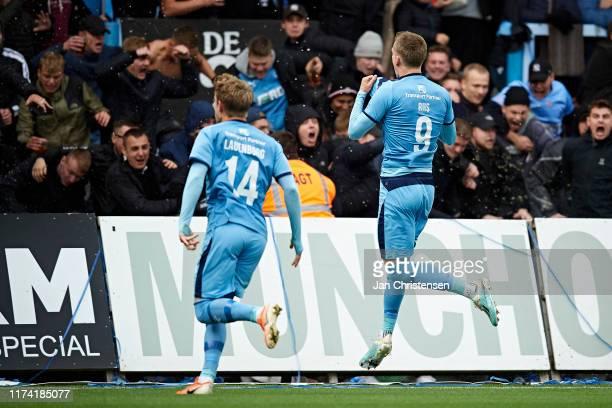 Frederik Lauenborg of Randers FC and Emil Riis Jakobsen of Randers FC celebrate after the 10 goal from Emil Riis Jakobsen during the Danish 3F...
