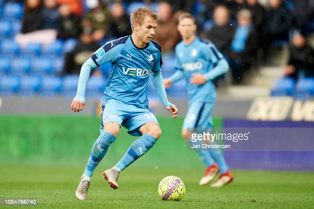 Frederik Lauenborg of Randers FC controls the ball during the Danish Superliga match between Randers FC and Esbjerg fB at BioNutria Park Randers on...