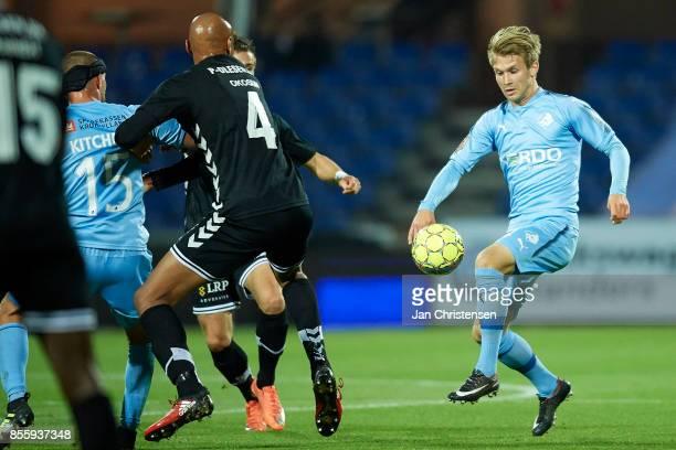 Frederik Lauenborg of Randers FC controls the ball during the Danish Alka Superliga match between Randers FC and AC Horsens at BioNutria Park Randers...