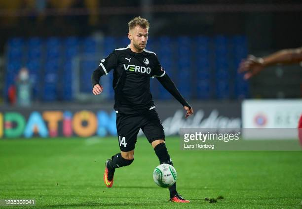 Frederik Lauenborg of Randers FC controls the ball during the UEFA Conference League match between Randers FC and AZ Alkmaar at Cepheus Park on...
