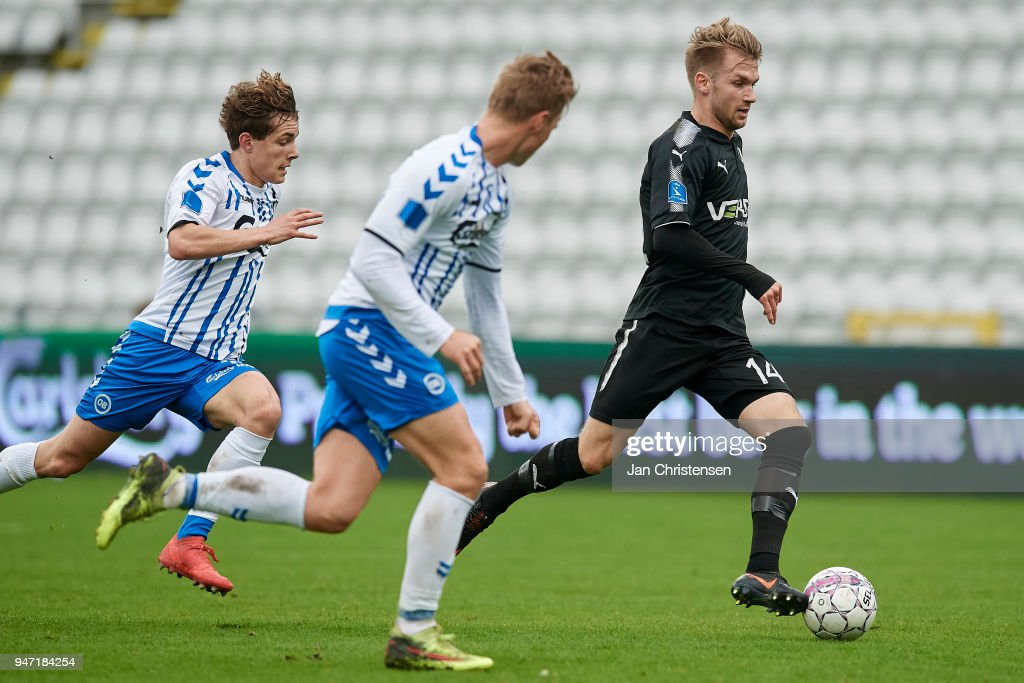Frederik Lauenborg of Randers FC in action during the Danish Alka Superliga match between OB Odense and Randers FC at EWII Park on April 15, 2018 in Odense, Denmark.