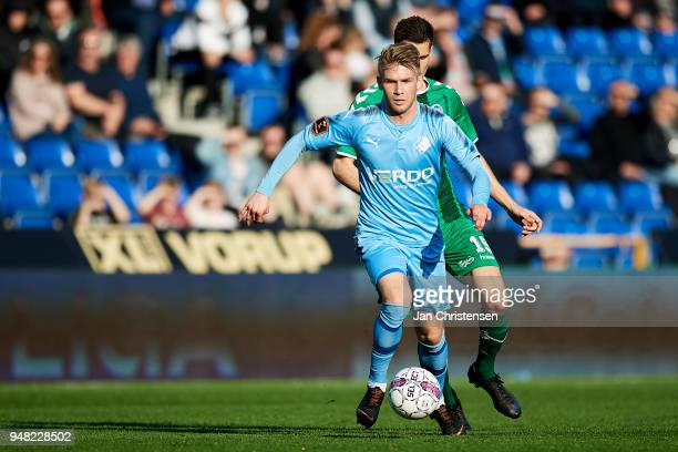 Frederik Lauenborg of Randers FC in action during the Danish Alka Superliga match between Randers FC and OB Odense at BioNutria Park Randers on April...