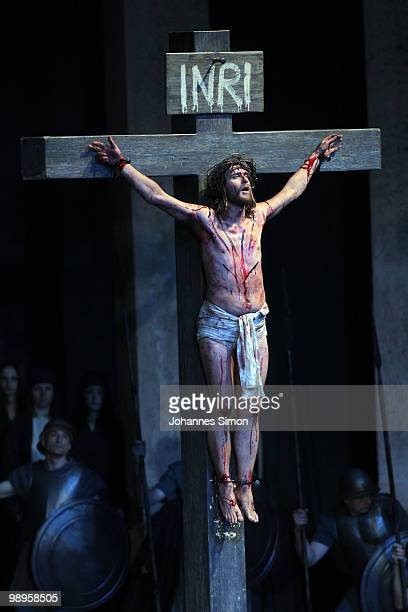 Frederik Mayet as Jesus Christ performs on stage during the Oberammergau passionplay 2010 final dress rehearsal on May 10, 2010 in Oberammergau,...