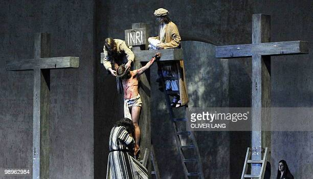 Frederik Mayet in the role of Jesus and residents of the small Bavarian village of Oberammergau perform during a dress rehearsal at Oberammergau's...