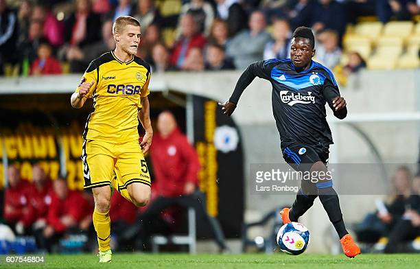 Frederik Moller of AC Horsens and Danny Amankwaa of FC Copenhagen compete for the ball during the Danish Alka Superliga match between AC Horsens and...