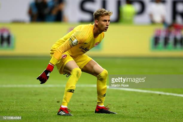 Frederik Roennow goalkeeper of Frankfurt in action during the DFL Supercup 2018 between Eintracht Frankfurt and Bayern Muenchen at CommerzbankArena...