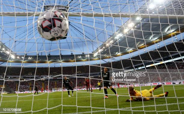 Frederik Roennow of Frankfurt gest the first goal by Robert Lewandowski of Bayern during the DFL Supercup match between Eintracht Frankfurt an Bayern...