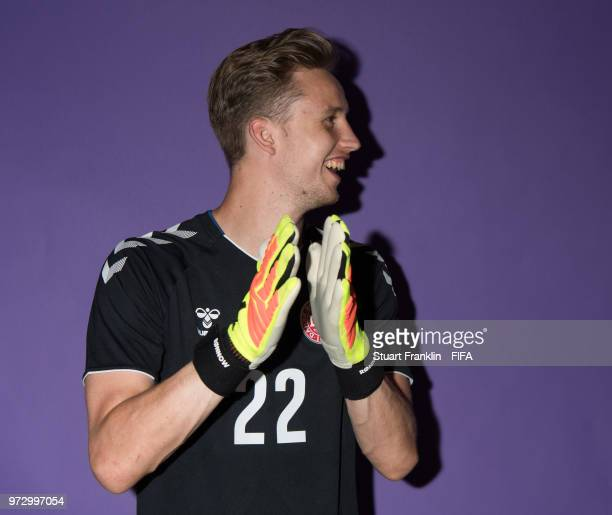 Frederik Ronnow of Denmark poses for a picture during the official FIFA World Cup 2018 portrait session at on June 12 2018 in Anapa Russia