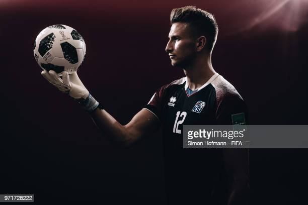 Frederik Schram of Iceland poses during the official FIFA World Cup 2018 portrait session at Resort Centre Nadezhda on June 11 2018 in Gelendzhik...