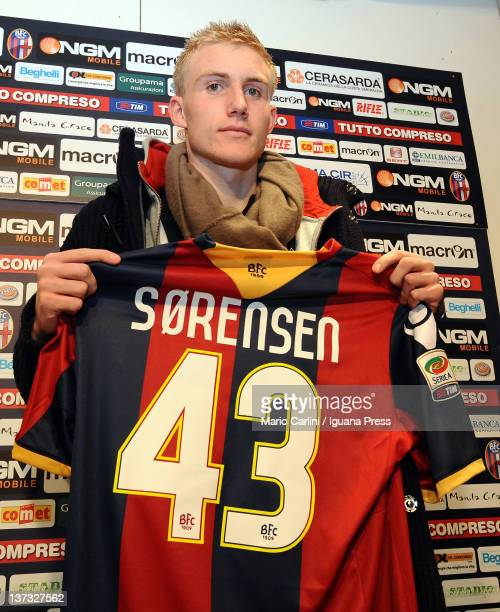 Frederik Sorensen, new player of Bologna FC holds his shirt during a press conference at the Niccolo Galli Sporting Center on January 19, 2012 in...