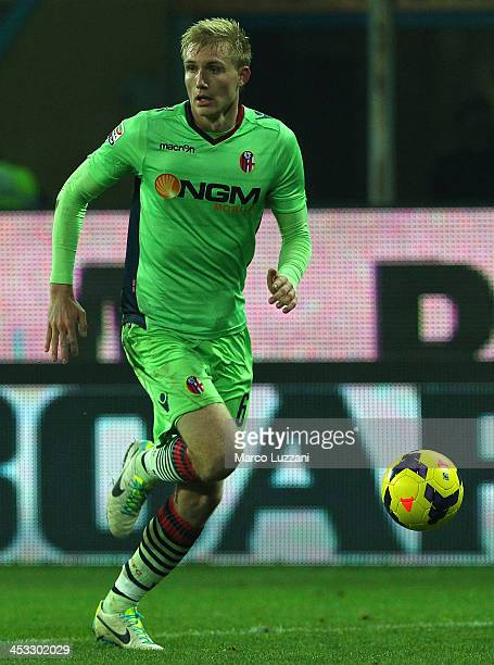 Frederik Sorensen of Bologna FC in action during the Serie A match between Parma FC and Bologna FC at Stadio Ennio Tardini on November 30 2013 in...