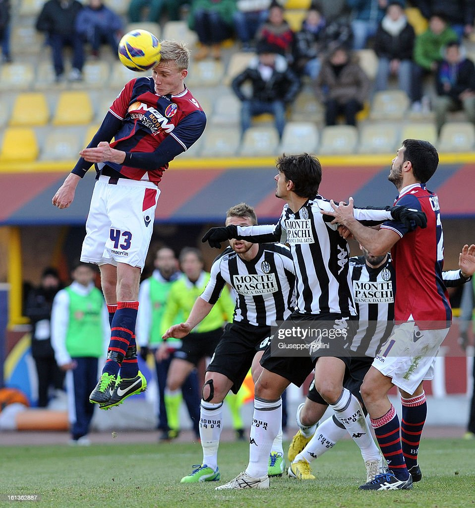 Frederik Sorensen of Bologna in action during the Serie A match between Bologna FC and AC Siena at Stadio Renato Dall'Ara on February 10, 2013 in Bologna, Italy.