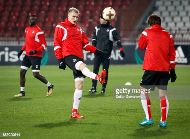 Frederik Sorensen of FC Koeln attends the training session ahead of the UEFA Europa League group H match between Crvena Zvezda and FC Koeln at...