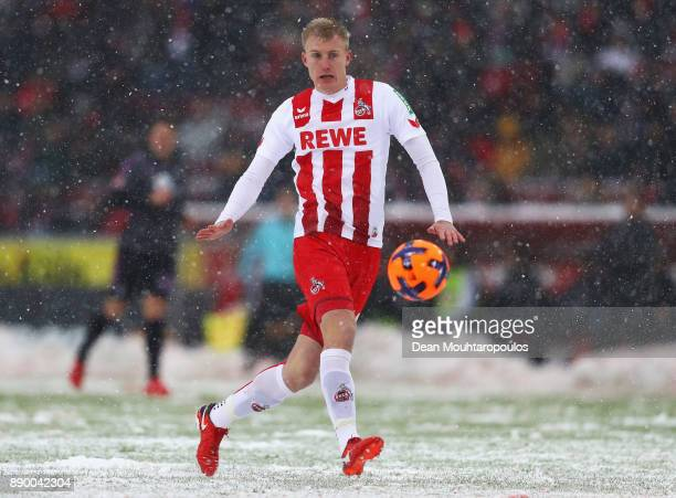 Frederik Sorensen of FC Koeln in action during the Bundesliga match between 1 FC Koeln and SportClub Freiburg at RheinEnergieStadion on December 10...