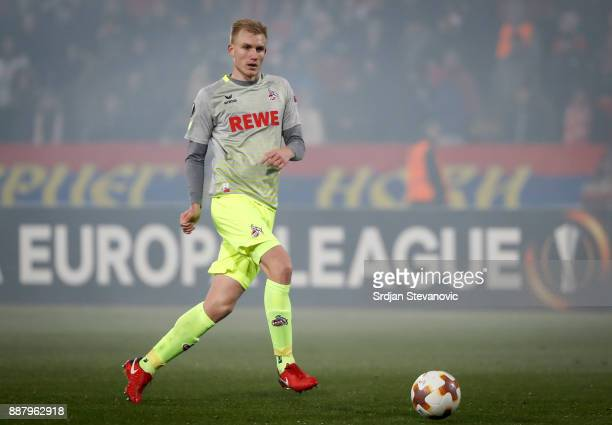 Frederik Sorensen of FC Koeln in action during the UEFA Europa League group H match between Crvena Zvezda and 1 FC Koeln at stadium Rajko Mitic on...