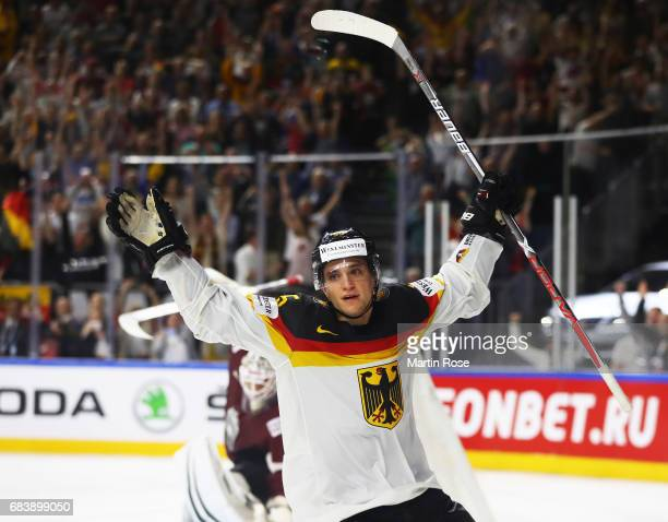 Frederik Tiffels of Germany celebrates during the Germany v Latvia match of the 2017 IIHF Ice Hockey World Championships at Lanxess Arena on May 16,...