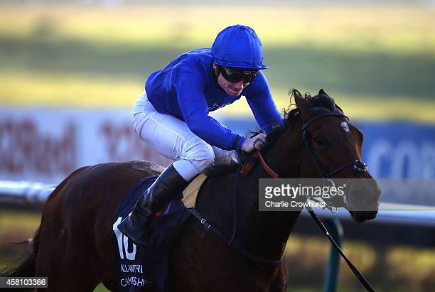 Frederik Tylicki rides Hidden Gold to win The 32Redcom/Choose EBF Nominated River Eden Fillies' Stakes at Lingfield racecourse on October 30 2014 in...
