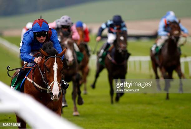 Frederik Tylicki riding Compton Lane win The Dribuild Dash Nursery Handicap Stakes at Chepstow Racecourse on September 13 2016 in Chepstow Wales