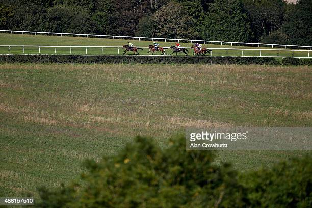 Frederik Tylicki riding Gale Force on their way to winning The Royal Sussex Regiment Stakes at Goodwood racecourse on September 01 2015 in Chichester...
