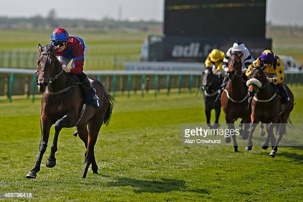 Frederik Tylicki riding Gifted Master to win The EBF STallions NGK Spark Plugs Condition Stakes at Newmarket racecourse on April 15 2015 in Newmarket...