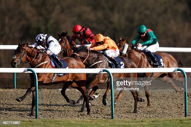 Frederik Tylicki riding Smidgen win The unibetcouk Handicap Stakes at Lingfield racecourse on March 27 2015 in Lingfield England