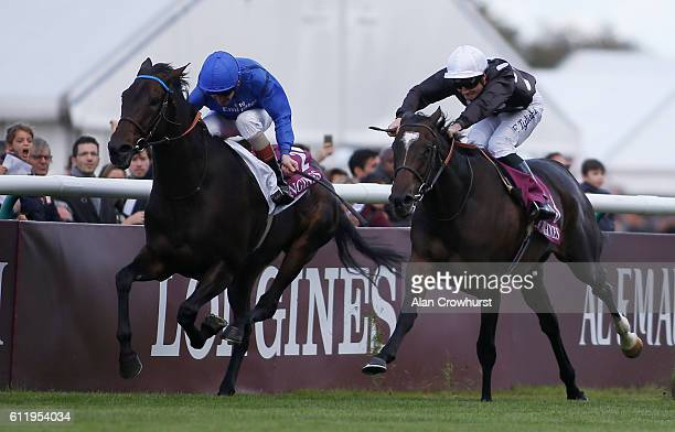Frederik Tylicki riding Speedy Boarding win The Prix de l'Opera Longines afrom Pleascach at Chantilly racecourse on October 02 2016 in Chantilly...