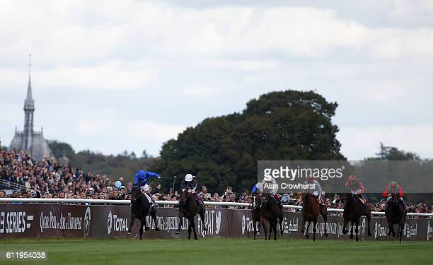 Frederik Tylicki riding Speedy Boarding win The Prix de l'Opera Longines at Chantilly racecourse on October 02 2016 in Chantilly France